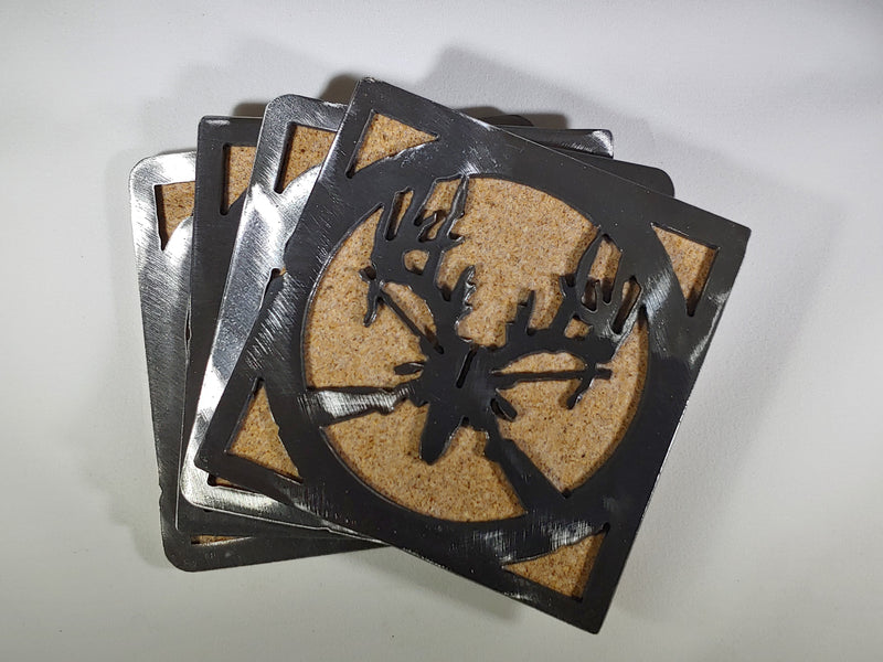 Steel Coaster - Buck Skull and Rifle (Set of 4)