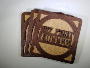 Steel Coaster - First Coffee (Set of 8)