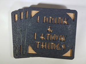 Steel Coaster - I Drink and I Know Things (Set of 8)