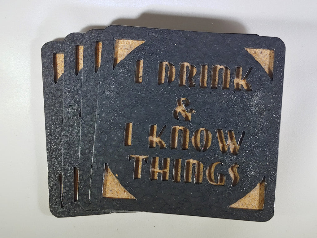 Steel Coaster - I Drink and I Know Things (Set of 4)
