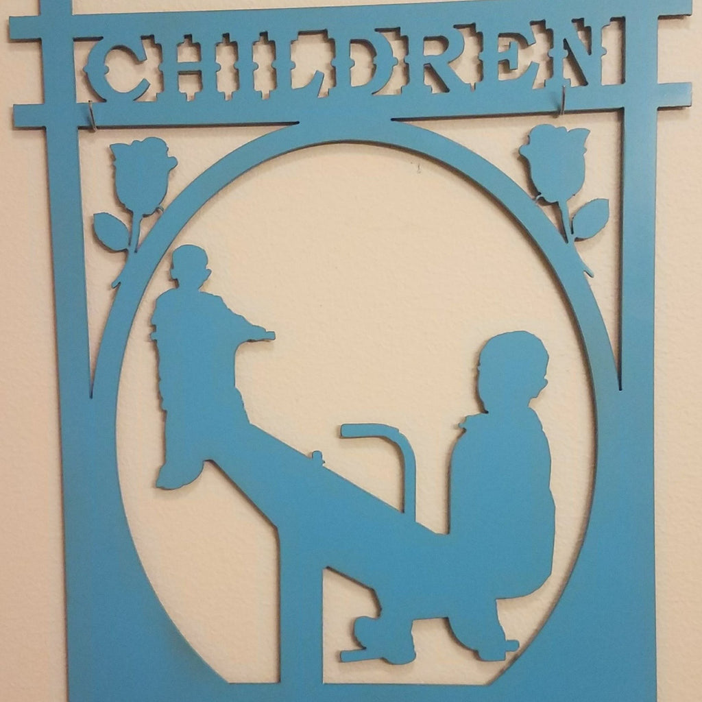 Children At Play Metal Sign