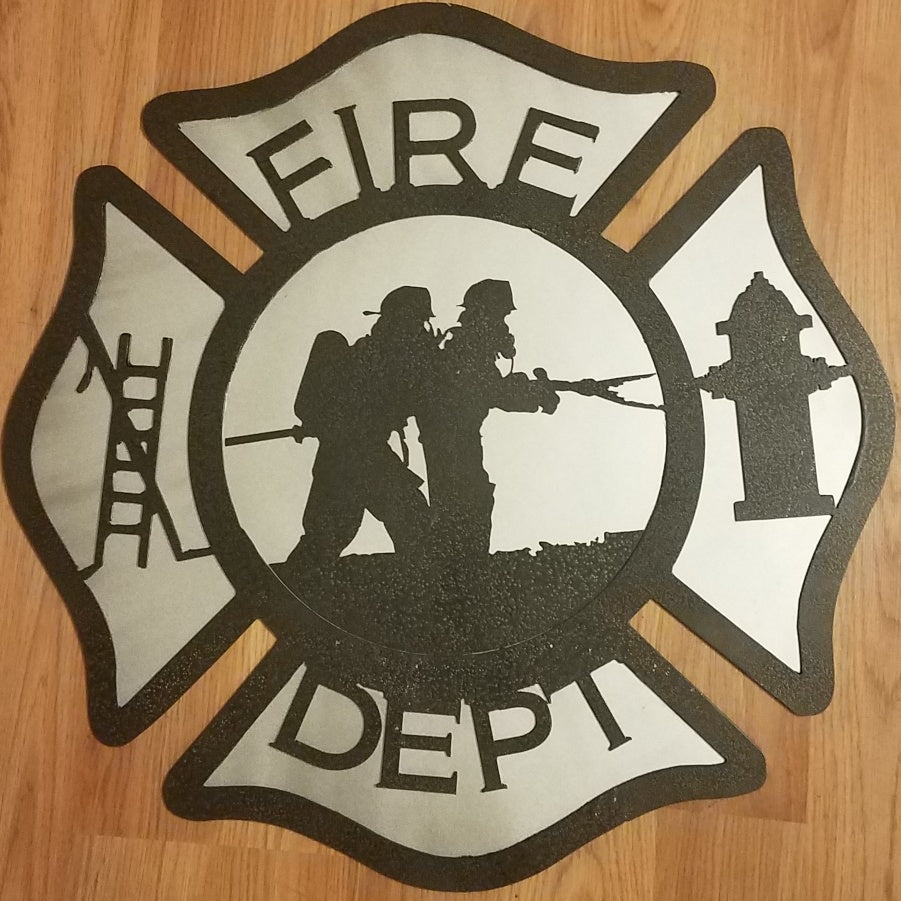 Maltese Cross (2 firefighters on a line) Two-tone