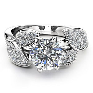 Viyado Wedding Ring Dazzling Flower Zircon Bijoux Crystal Silver Jewelry Gifts