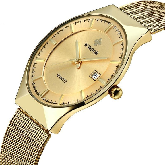 Viyado Ultra Thin Wrist Watch Quartz Gold Slim Steel Mesh Luxury Waterproof Clock