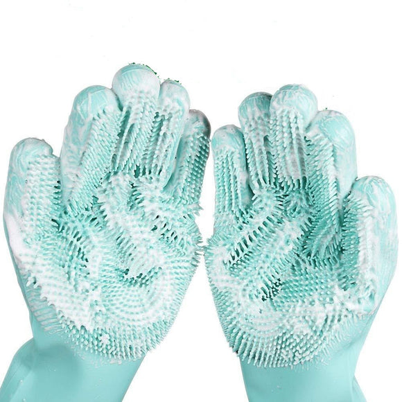 Viyado Magic Scrub Gloves Silicone Scrubber Dish Washing  Kitchen Cleaning 1 Pair