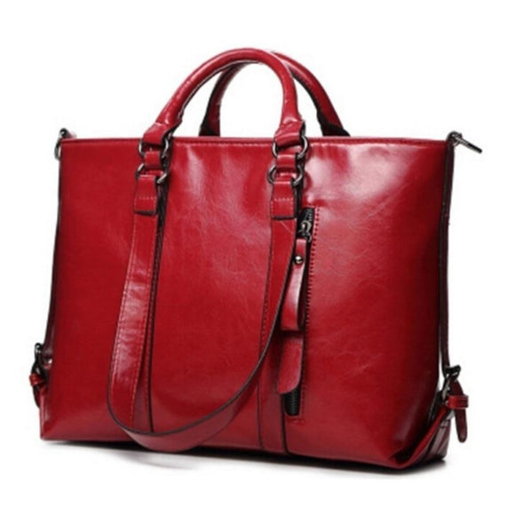 Viyado Handbag Oil Wax Leather Shoulder Bag Solid Casual Tote Fashion Brand