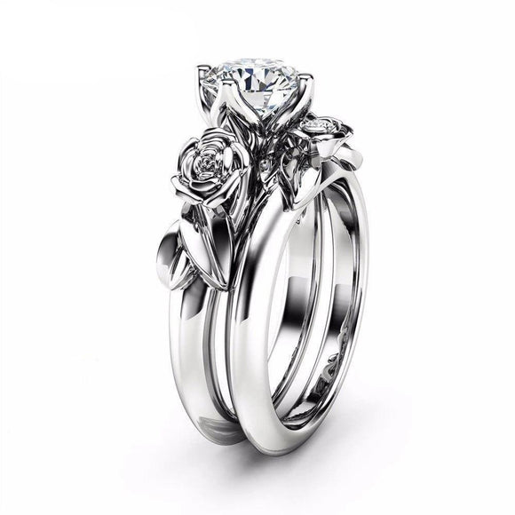 Viyado Rose Flower Wedding Ring Round Finger Classic Crystal Jewelry Set