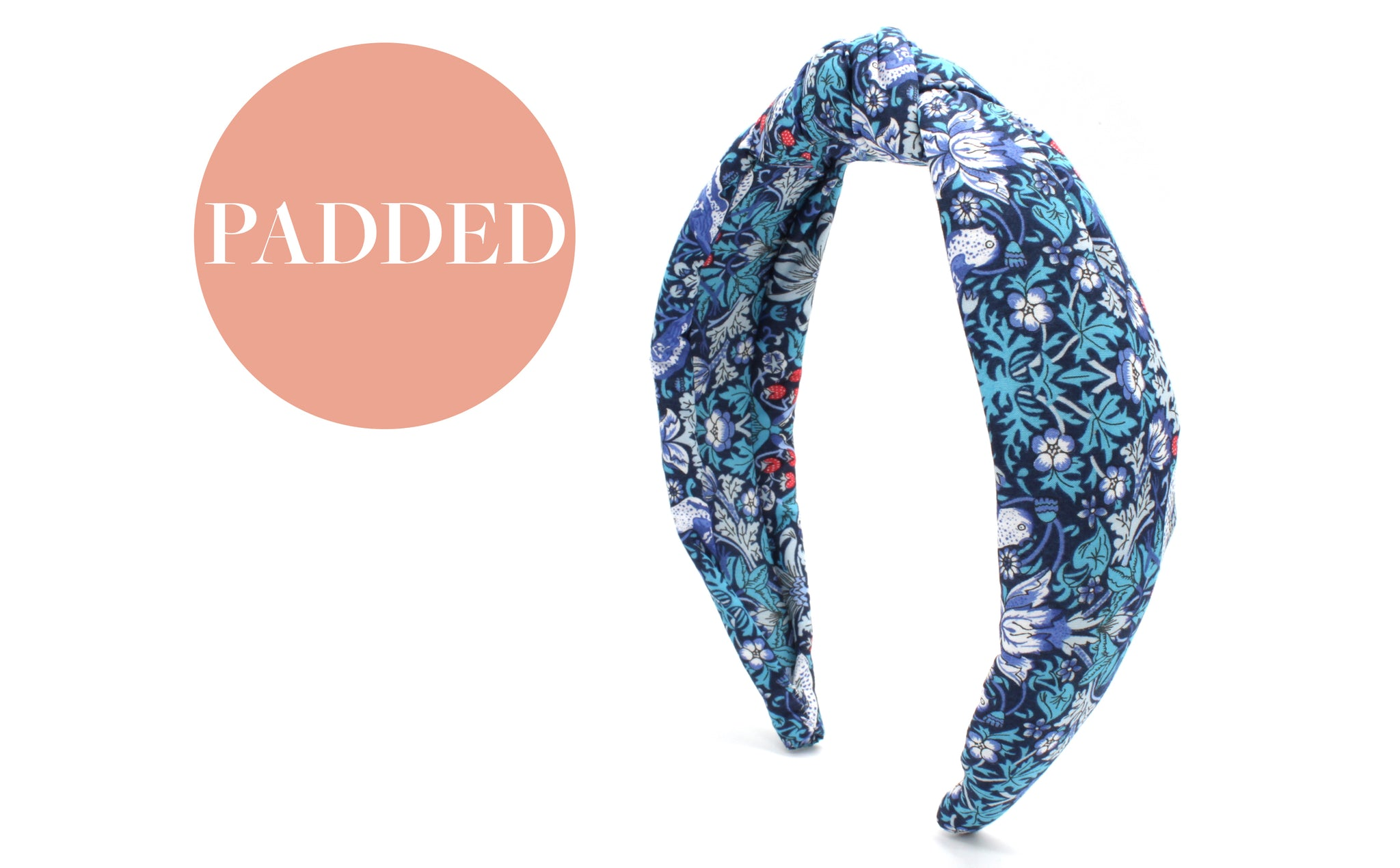 Women's Padded Knot Headband - Strawberry Thief M Print