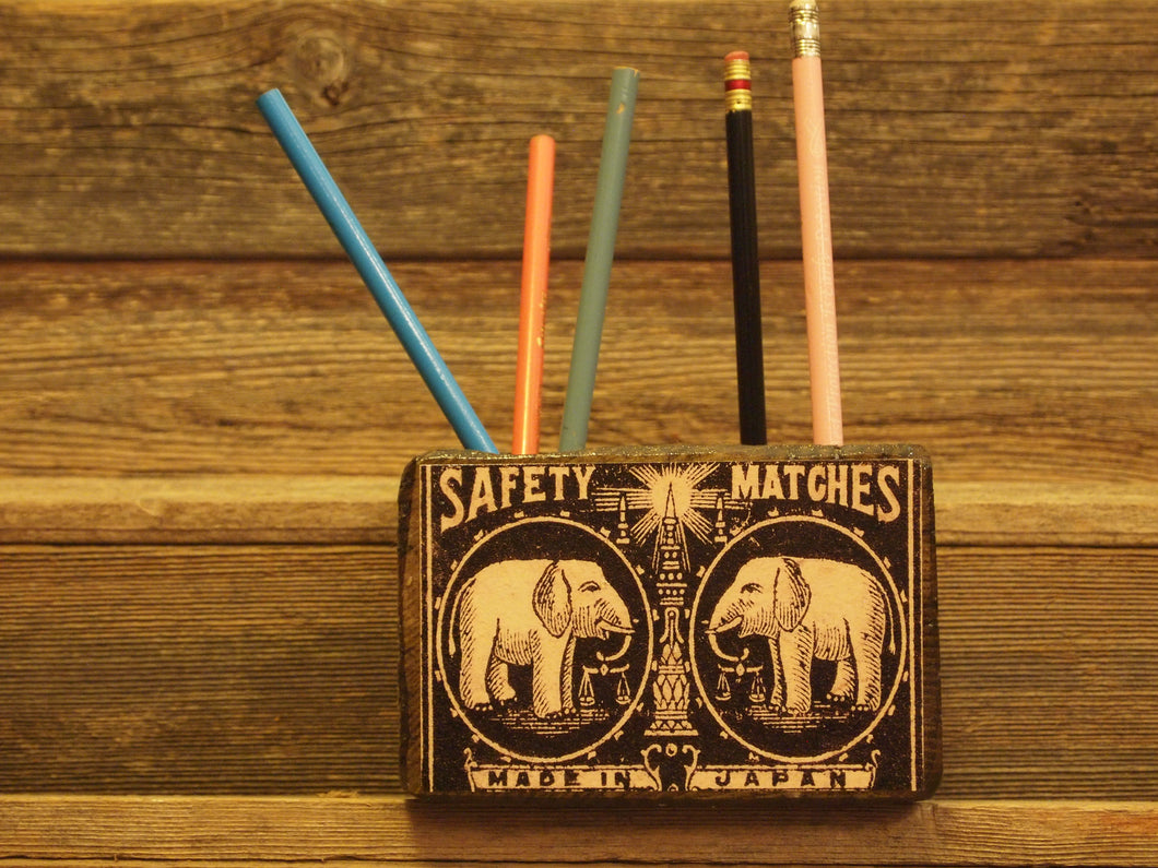 Elephant Matchbox Desk Organizer