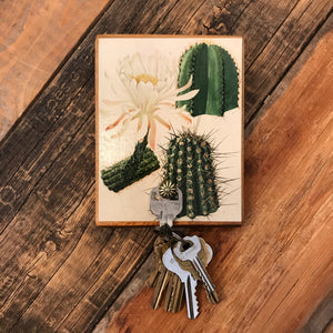 White Bloom Cactus Key Hanger