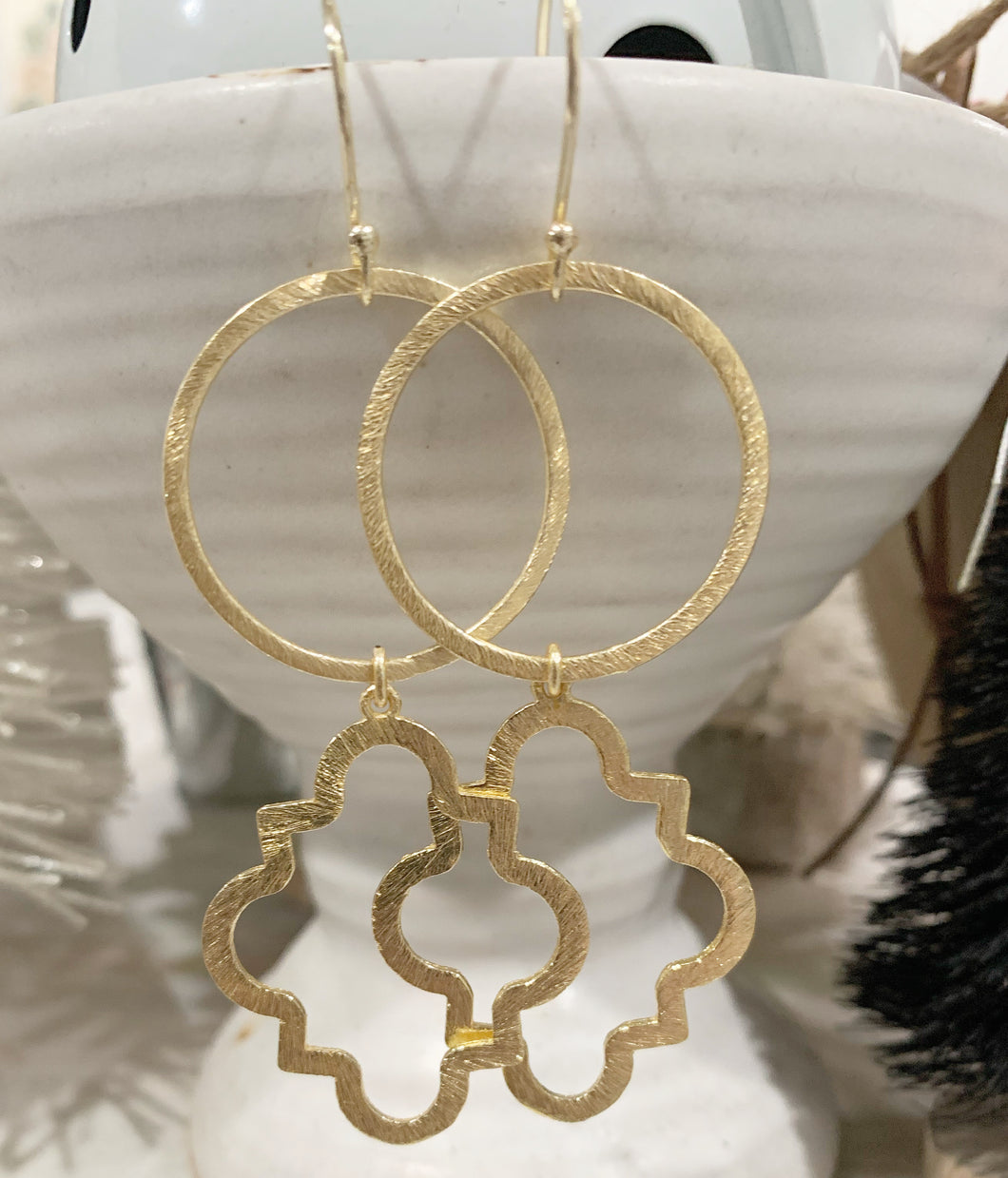 Circle + Quatrefoil Earrings