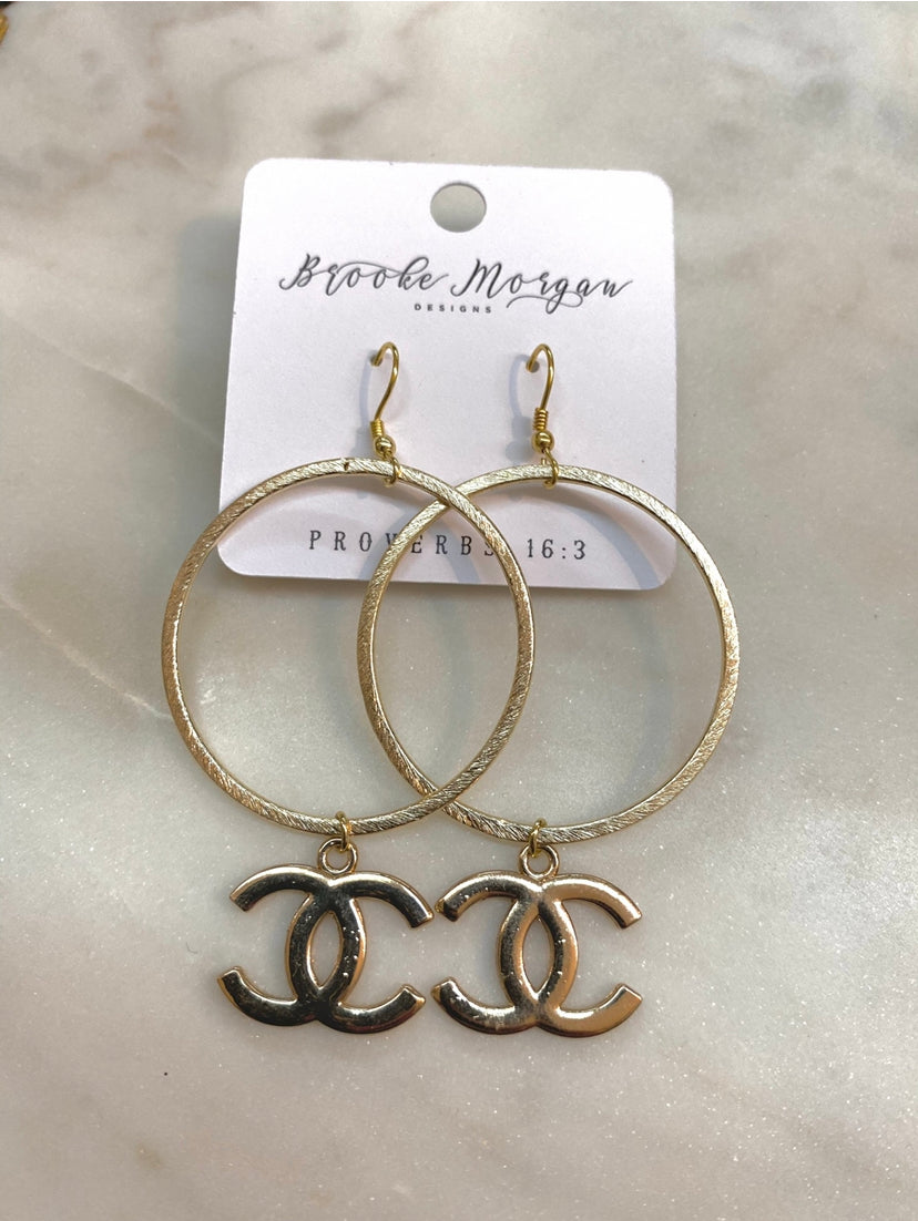 Cc Inspired Hoop Earrings