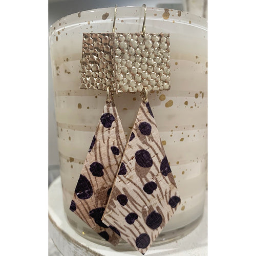 Gold & Leopard Leather Earrings