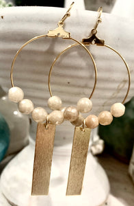 Tan Beaded + Bar Earrings