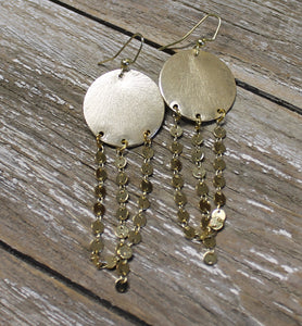 Round Disc w/Chain Earrings