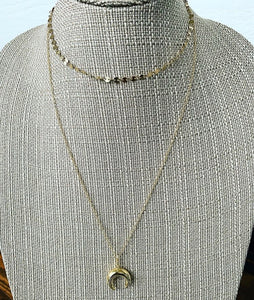 Disc Chain + Crescent Necklace