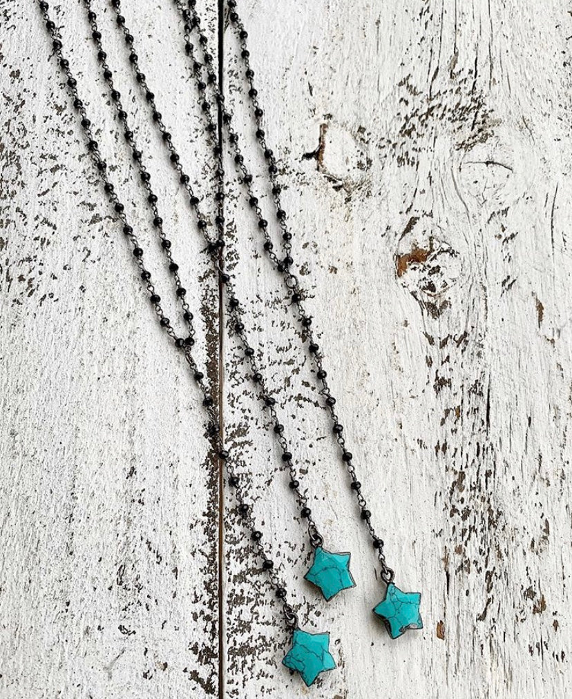 Black Gunmetal + Turquoise Star Pendant Y Necklace
