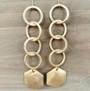 Circle Chain + Hexagon Earrings