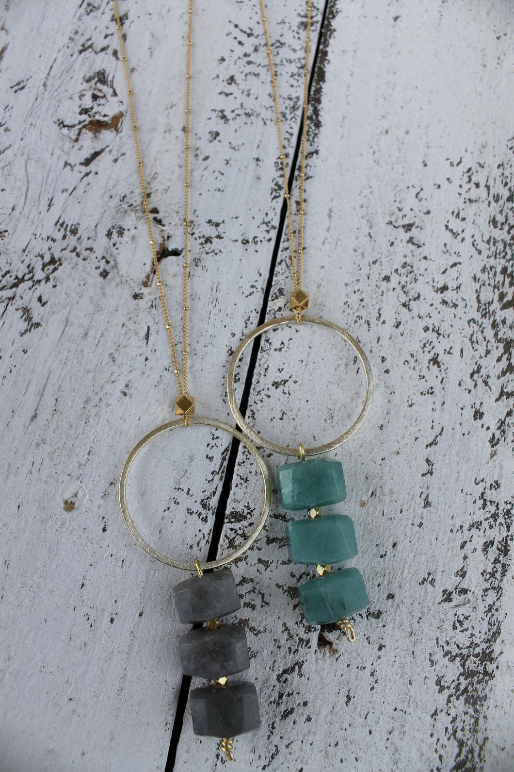 Circle + Nugget Bead Necklace