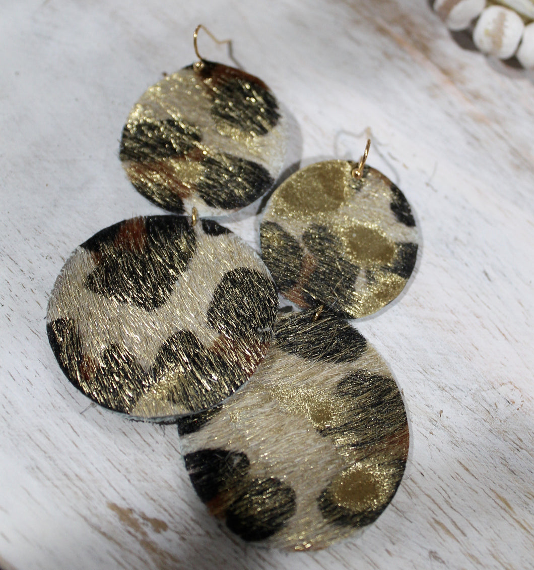 Leopard + Cowhide Leather Circle Earrings