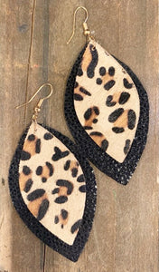 Leopard + Black Leather Earrings