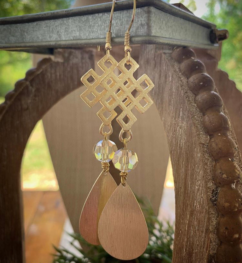 Simple Bead + Teardrop Earrings