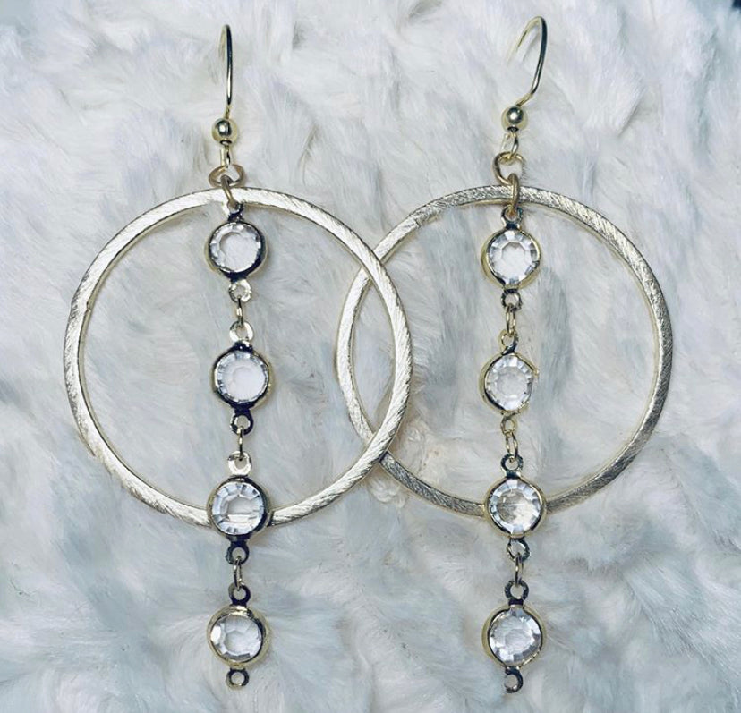 Clear Chain + Circle Earrings