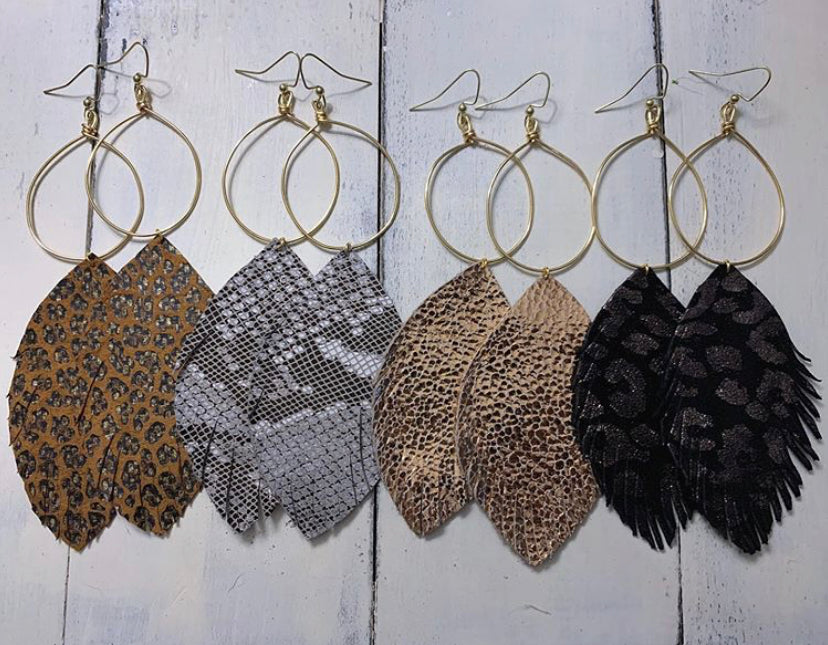 Hoop + Leather Fringe Earrings