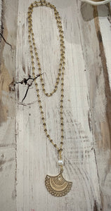Gold Pendant + Pearl Rosary Necklace