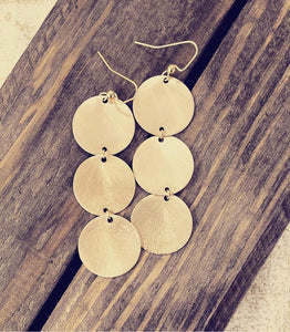 Triple Gold Disc Earrings