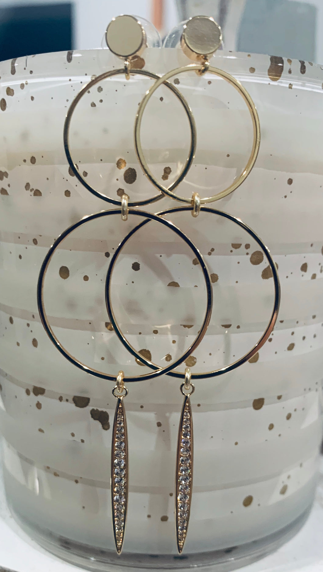 Circle + Pave Spike Earrings