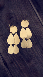 Teardrop/Disc Statement Earrings