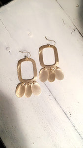 Square Earrings with Dangling Oval Pieces