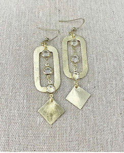 Clear/Rectangle + Square Pendant Earrings