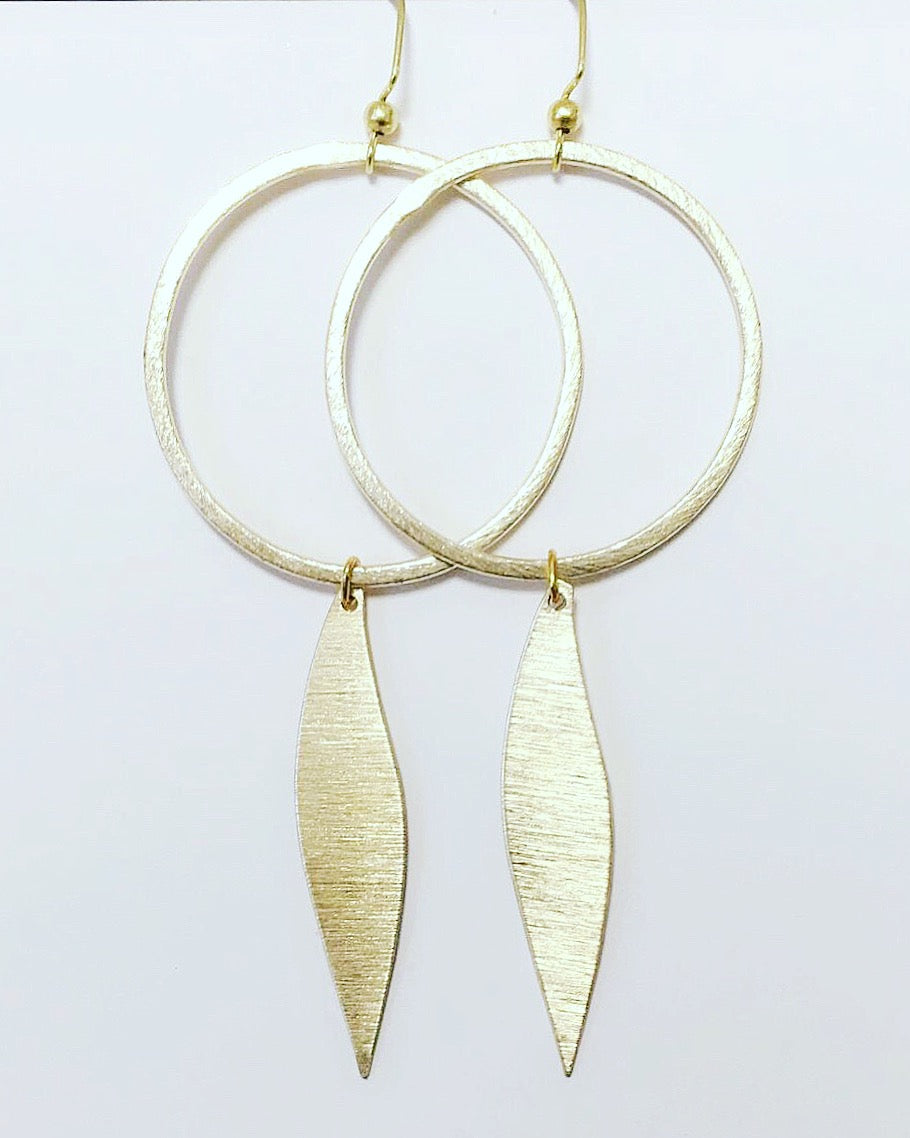 Circle + Gold Piece Earring