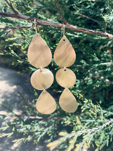 Double Teardrop + Disc Earrings