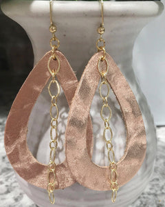 Rose Gold Leather + Chain Earrings
