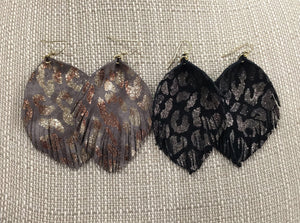 Leopard Leather Fringe Earrings