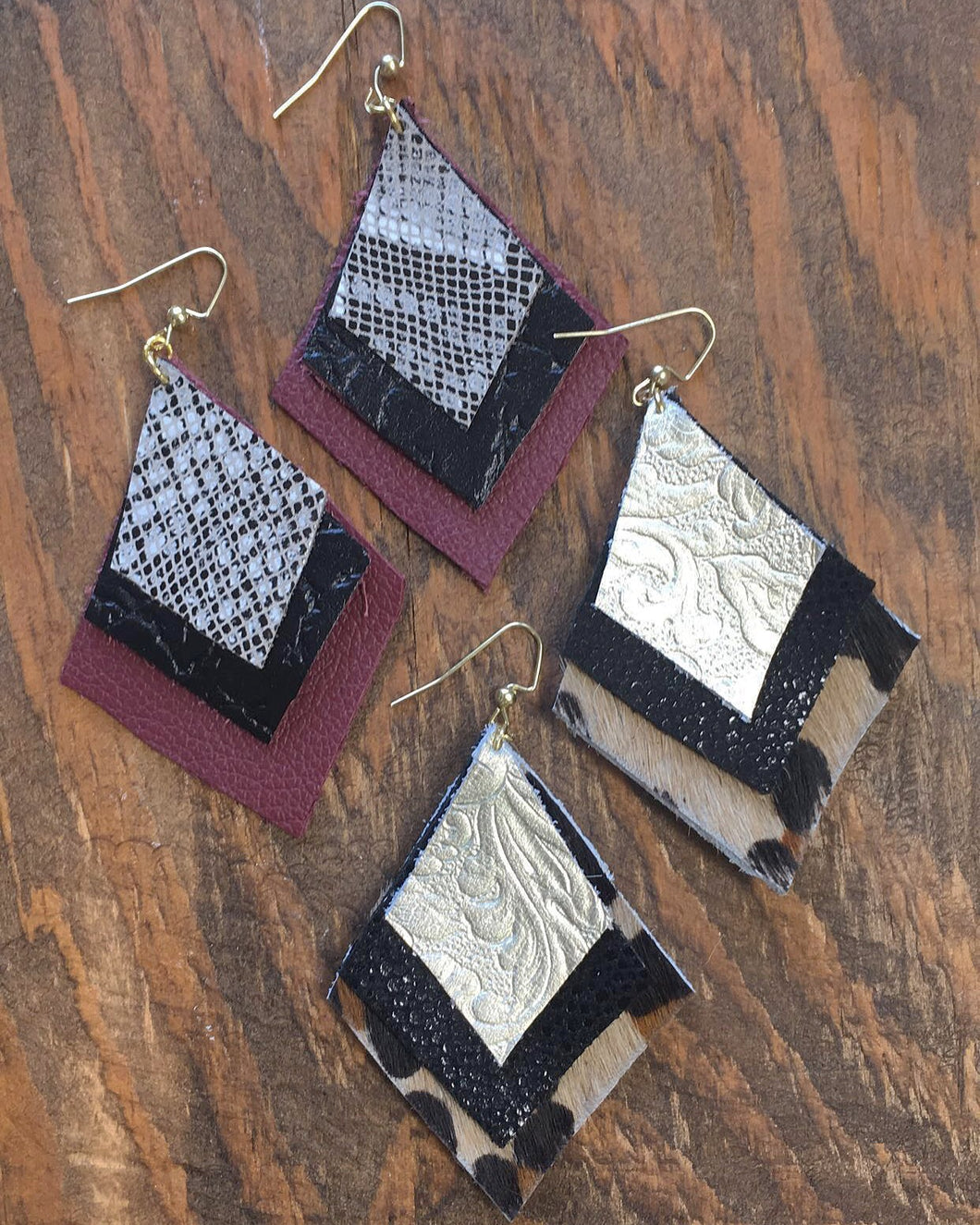 Diamond Shaped Leather Earrings