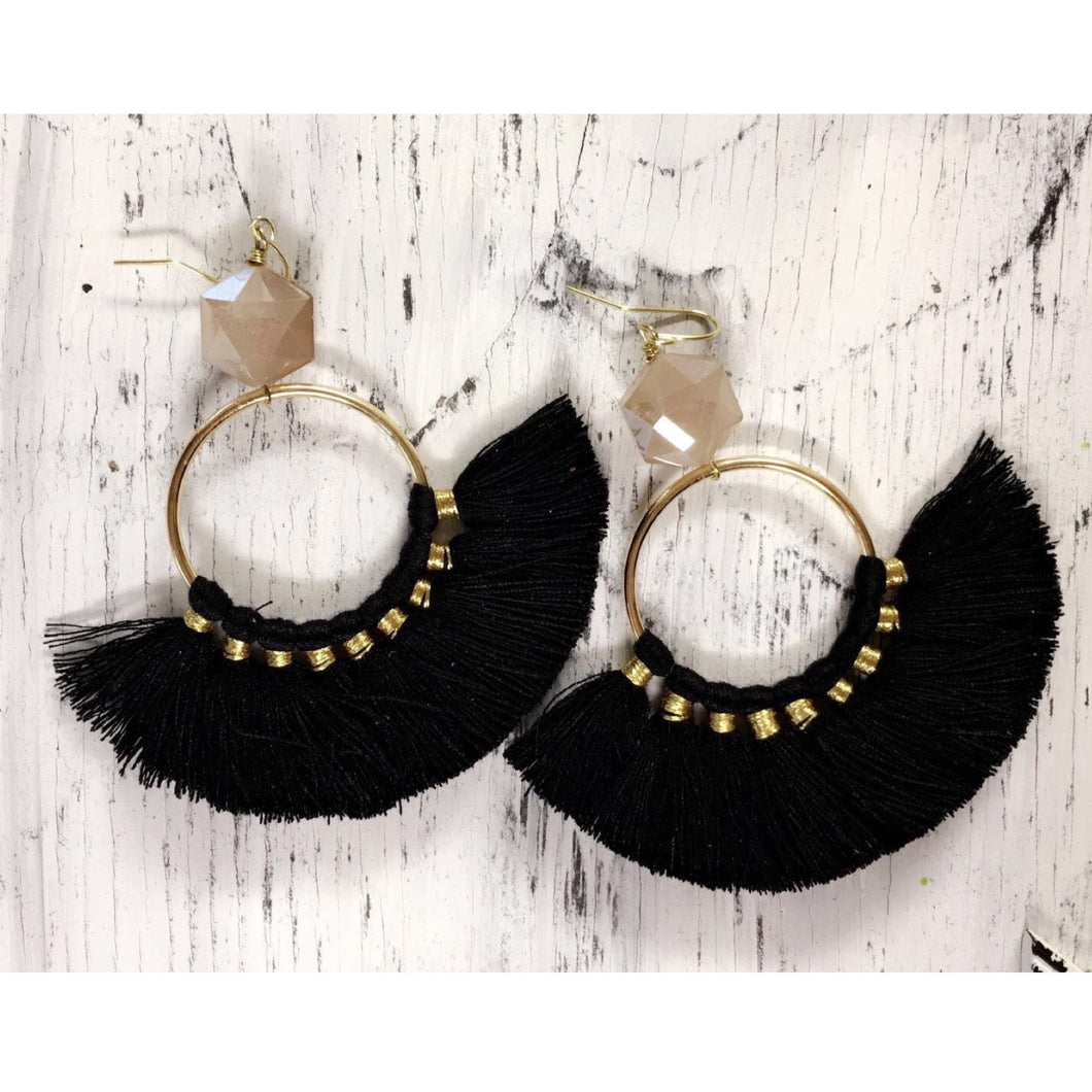 Bead + Tassel Disc Earrings