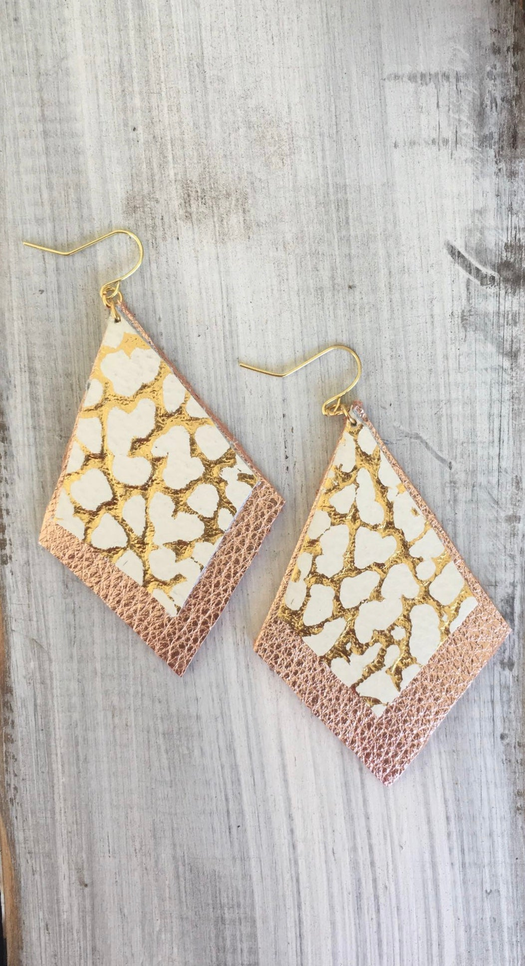 Rose Gold + Gold Leather Earrings