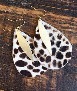 Brown & White Cowhide Earrings