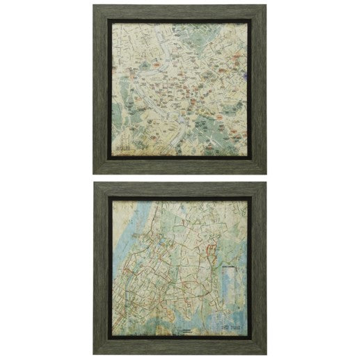 Set of Two Weathered Wood Map Prints | City Mercantile