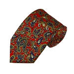 Royal, Gold Paisley on Red Men's Printed Design Necktie | City Mercantile