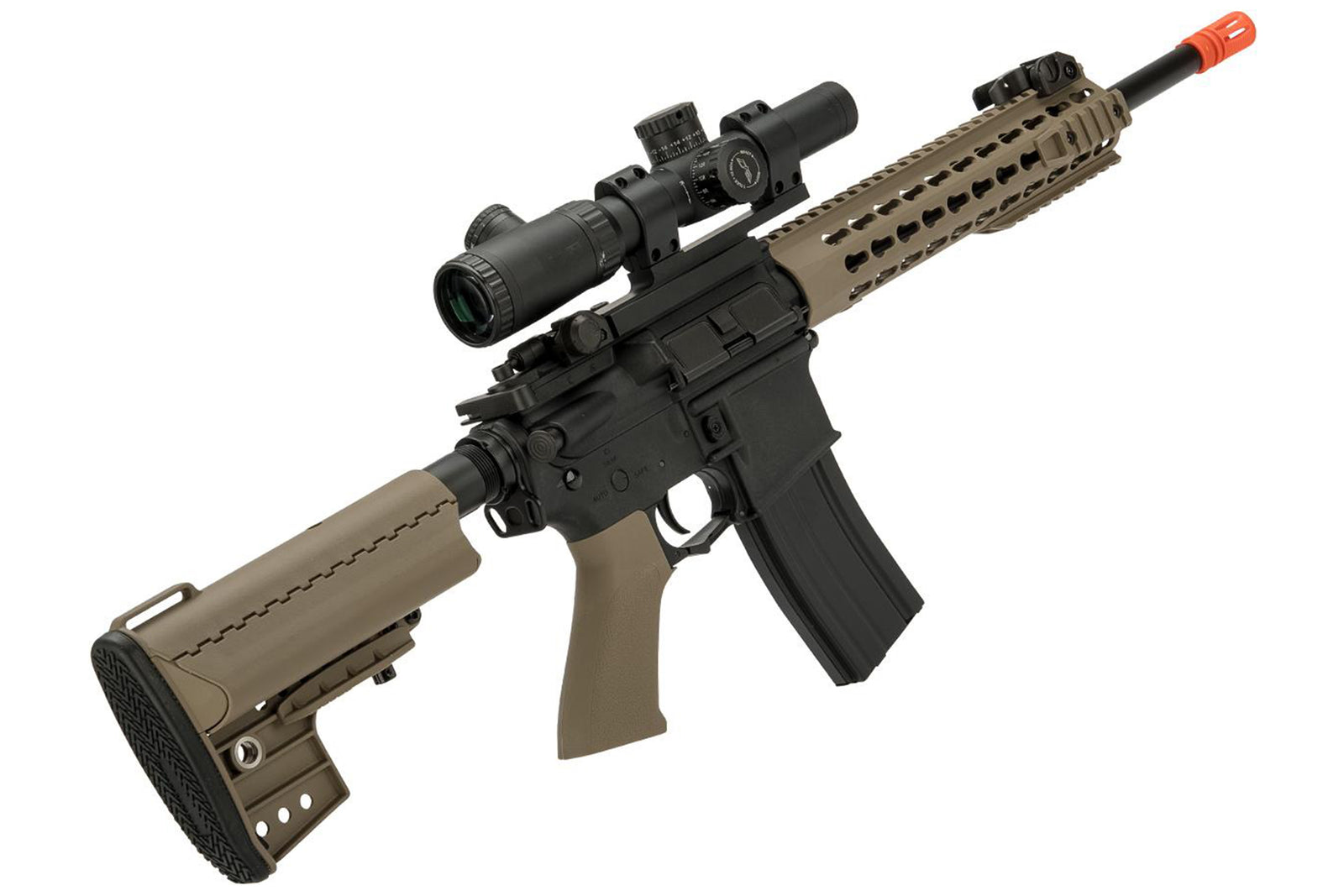 "CYMA Sport M4 Airsoft AEG with 10"" Keymod Modular Handguard - Tan - Combo Battery + Charger"