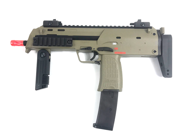 H&K Umarex MP7 Rapid Deployment Hard Kick Airsoft Gas Blowback by KWA Color: Desert Tan