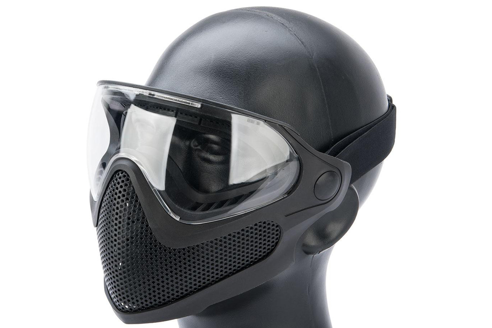 6mmProShop Pilot Face Mask w/ Steel Mesh Lower Face Protection - Black