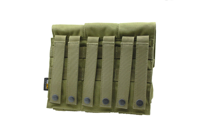 TRIPLE M4 MAG POUCH OD GREEN (FITS 6 M4 MAGS)