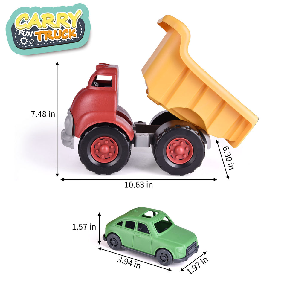 Dump Truck Toy with 3 Pack Mini Car Toys, Push & Go Dump Truck Sand Toy for Boys,Toddler Outdoor Toy