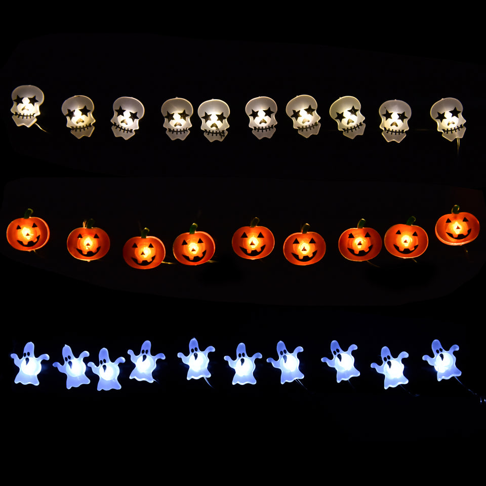 Halloween LED String Lights, Jack O' Lantern, spook & Skull Lights String on Flexible Copper Wire 12.5 ft 36LEDs,Decorative Lights for Indoor